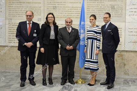 Swedish ambassador Robert Rydberg, Anna Ekstrom, Swedish Minister for Upper Secondary School and Adult Education and Training, Jose Graziano da Silva, director-general of FAO, Crown Princess Victoria, Prince Daniel, visit to FAO, Food and Agriculture Organization of the United Nations, Rome