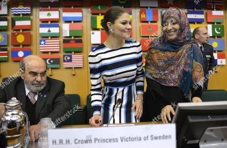 Jose Graziano da Silva, director-general of FAO, Crown Princess Victoria, Tawakel Karman, Nobel Peace Prize Laureate 2011, visit to FAO, Food and Agriculture Organization of the United Nations, Rome