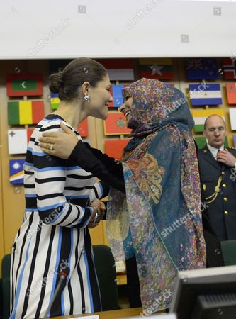 Crown Princess Victoria and Tawakel Karman, Nobel Peace Prize Laureate 2011, visit to FAO, Food and Agriculture Organization of the United Nations, Rome
