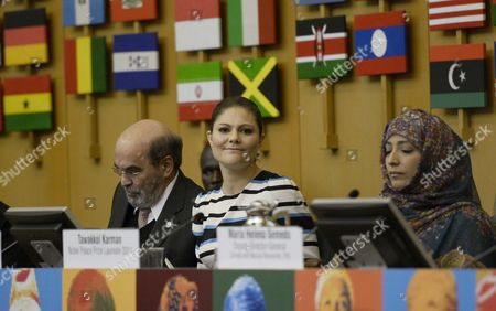Jose Graziano da Silva, director-general of FAO, Crown Princess Victoria and Tawakel Karman, Nobel Peace Prize Laureate 2011, visit to FAO, Food and Agriculture Organization of the United Nations, Rome