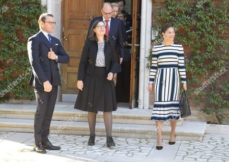 Prince Daniel, Anna Ekstrom, Swedish Minister for Upper Secondary School and Adult Education and Training and Crown Princess Victoria visit to the Swedish Institute, Rome