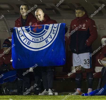 Rangers Substitute Kenny Miller folds  up a blanket with 2 goal hero Martyn Waghorn (right) during the SPFL Ladbrokes Premiership match between Hamilton Academical & Rangers played at New Douglas Park, Hamilton on 16th December