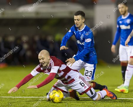 Jason Holt of Rangers with Grant Gillespie of Hamilton Academical during the SPFL Ladbrokes Premiership match between Hamilton Academical & Rangers played at New Douglas Park, Hamilton on 16th December