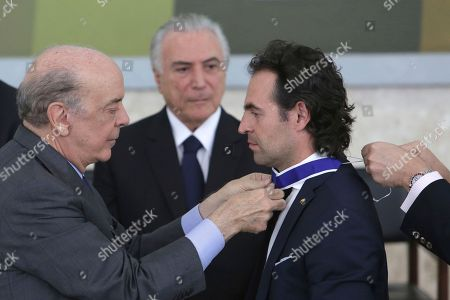 Stock Image of Frederico Gutierrez Zuluaga, Jose Serra Brazil's Foreign Minister Jose Serra decorates Medellin Mayor Federico Gutierrez Zuluaga with the Order of Rio Branco, during a decoration ceremony honoring Colombians who helped in the rescue and recovery of the victims of the chartered plane crash involving members of a Brazilian soccer team and a group of journalists, at the Planalto presidential palace, in Brasilia, Brazil, . The pilot reported the plane was out of fuel minutes before it slammed into a muddy mountainside near Medellin on Nov. 28, killing all but six of the 77 people on board