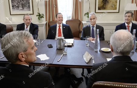 Incoming White House chief of staff Reince Priebus (2-R) is joined by Former White House Chief of Staff including Andrew Card, William Daily, Samuel Knox Skinner, John Podesta and Rahm Emanuel (R)