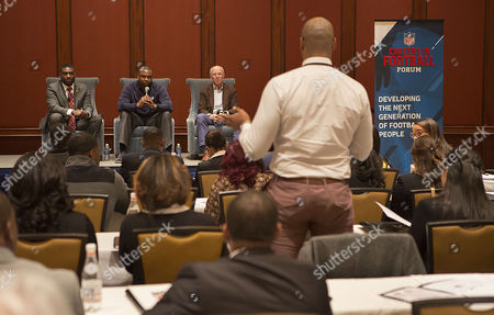 Left to right) Freddie Scott II, Troy Vincent Sr. and Rich McKay field questions during panel discussion at the NFL Football Careers Forum at the Omni Hotel in Atlanta on