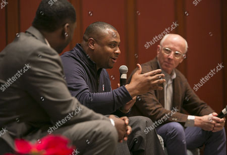 Left to right) Freddie Scott II, Troy Vincent Sr. and Rich McKay participate in a panel discussion during the NFL Football Careers Forum at the Omni Hotel in Atlanta on