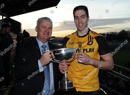 Connacht vs Ulster. Ulster's Eoin Donnelly is presented with the cup by GAA President Aogan O'Fearghail