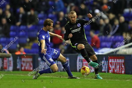 Brighton & Hove Albion midfielder Jiri Skalak (8) and Birmingham City defender Jonathan Spector (23) during the EFL Sky Bet Championship match between Birmingham City and Brighton and Hove Albion at St Andrews, Birmingham