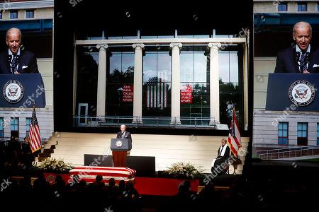 Vice President Joe Biden speaks at the funeral of John H Glenn at The Ohio State University, in Columbus, Ohio. Glenn, the famed astronaut, died Dec. 8 at age 95
