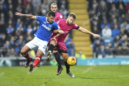 Gareth Evans of Portsmouth left vies with Nicky Featherstone of Hartlepool United during Portsmouth vs Hartlepool United, Sky Bet EFL League 2 Football at Fratton Park on 17th December 2016