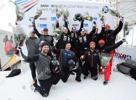 Rico Peter, Janne Bror van der Zijde, Simon Friedli, Thomas Andrianov, Steven Holcomb, Carlo Valdes, James Reed, Samuel McGuffie Chris Spring, Cameron Stones, Lascelles Brown, Samuel Giguere he Swiss team of Rico Peter, Simo The Swiss team of Rico Peter, Janne Bror van der Zijde, Simon Friedli and Thomas Andrianov, center, celebrates its win in the four-man bobsled World Cup race, in Lake Placid, N.Y. The U.S. team of Steven Holcomb, Carlo Valdes, James Reed, Samuel McGuffie left, took second place. and Canada's Chris Spring,Cameron Stones, Lascelles Brown, Samuel Giguere took third place
