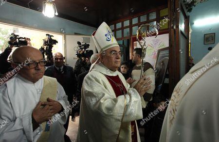 Cardinal Cardinal Archbishop of Westminster Vincent Nichols, Archbishop of Westminster, leads a Sunday mass at Der Latin church in Gaza City