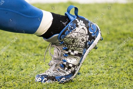 Stock Photo of , 2016, Detroit Lions wide receiver Golden Tate (15) with special cleats for the late Craig Sager prior tothe NFL game between the Detroit Lions and the New York Giants at MetLife Stadium in East Rutherford, New Jersey