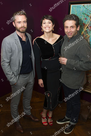 Rory Keenan (Steward/The Inquisitor), Gemma Arterton (Joan) and Elliot Levey (Couchon)