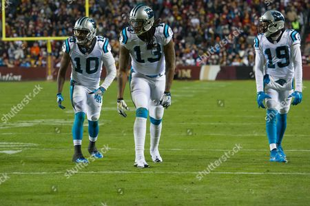 Stock Image of Carolina Panthers wide receivers Corey Brown (10), Kelvin Benjamin (13) and Ted Ginn Jr.(19) stand on the line awaiting the snap during the Monday Night matchup between the Carolina Panthers and the Washington Redskins at FedEx Field in Landover, MD