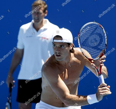 German Tennis Player Tommy Haas (r) and German Coach Patrick Kuehnen During a Practise Session Ahead of the Australian Open Tennis Tournament in Melbourne Australia 18 January 2009 the Grand Slam Tournament Starts On the 19th of January