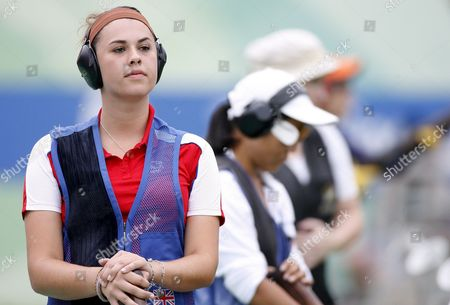 British Charlotte Kerwood Concentrates During the Women's Trap Shooting Qualification On the Beijing Shooting Range During the 2008 Olympics in Beijing China 11 August 2008
