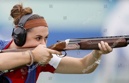 British Charlotte Kerwood Shoots During the Women's Trap Shooting Qualification On the Beijing Shooting Range During the 2008 Olympics in Beijing China 11 August 2008