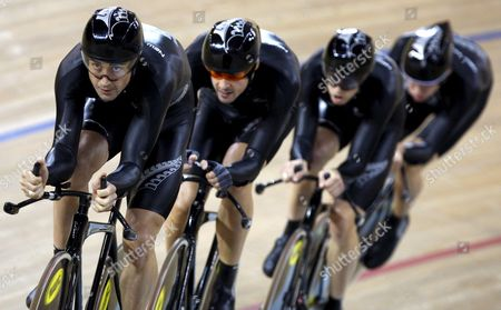 The New Zealand Cycling Team with Sam Bewley Hayden Roulston Marc Ryan and Jesse Sergent Competes in Men's Team Pursuit Final in the Laoshan Velodrome During the 2008 Olympics in Beijing China 18 August 2008 New Zealand Won the Bronze Medal