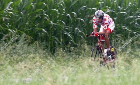 Columbian Cyclist Juan Soler Hernandez of the Barloworld Team in the Polka Red Dot Jersey of the Best Climber Rides His Bike During the Thirteenth Stage of the Tour De France Cycling Race Around Albi 21 July 2007 the Riders Had to Pass a 54 Kilometres Time Trial Around Albi