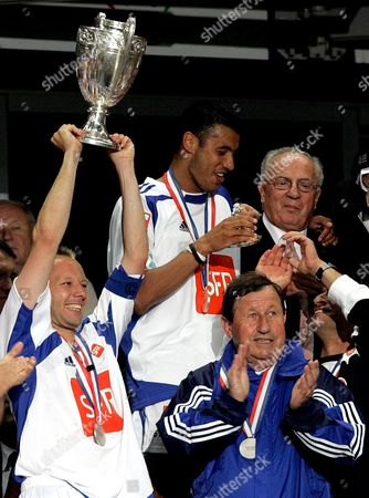 France Soccer Legendary Coach of Aj Auxerre Roux Guj (r) Celebrates the Victory in France Cup Final Match in Paris Saturday 04 June 2005 France's Longest-serving Manager Guy Roux is to Stand Down After 44 Years in Charge Club President Jean-claude Hamel Announced Sunday 05 June 2005