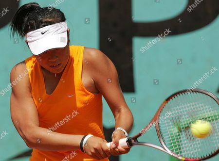 Japanese Ayumi Morita Hits a Backhand During the Girls Singles Quarter Final Match Against Dutch Bibiane Schoofs at the French Open in Roland Garros Paris Thursday 02 June 2005