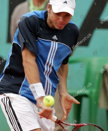 Swiss Stanislav Wawrinka Hits a Backhand During the 1st Round Match Against Chilean Nicolas Massu at the French Open in Roland Garros Paris Tuesday 24 May 2005