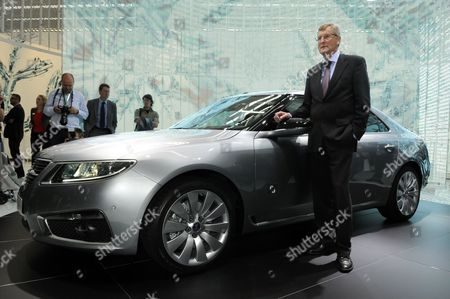 Jan Ake Jonsson Saab Managing Director Poses For Photos in Front of the New Saab 95 During a Press Preview Day at the Frankfurt International Auto Show Iaa in Frankfurt 15 September 2009 Iaa World's Largest Automobile Exhibition Will Run Until 27 September