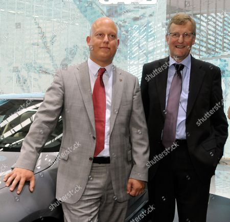 Jan Ake Jonsson (r) Saab Managing Director and Christian Von Koenigsegg Pose For Photos During the Presentation of the New Saab 95 (l) During a Press Preview Day at the Frankfurt International Auto Show Iaa in Frankfurt 15 September 2009 Iaa World's Largest Automobile Exhibition Will Run Until 27 September Beijing Automotive Industry Holdings Recently Made a Preliminary Agreement On Becoming a Minority Shareholder Holder in Koenigsegg That Aims to Take Over Saab From General Motors