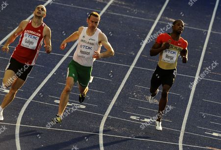 Ramil Guliyev of Azerbaijan (l-r) Paul Hession of Ireland and German Aleixo-platini Menga Compete in the 200m Heat 2nd Round at the 12th Iaaf World Championships in Athletics Berlin Germany 18 August 2009 Germany Berlin
