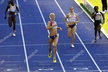 Elodie Ouedraogo (l-r) of Belgium Angela Morosanu of Romania Zuzana Hejnova of Czech Republic and Amaka Ogoegbunam of Nigeria Compete in the 400m Hurdles Heat at the 12th Iaaf World Championships in Athletics Berlin Germany 17 August 2009 Germany Berlin