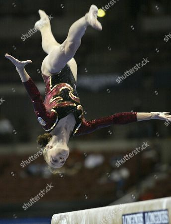 Elena Gomez of Spain Competes On the Balance Beam During the Women's Qualification Session at the World Gymnastics Championships in Anaheim California Monday 18 August 2003 Epa Photo/epa/mike Fiala United States Anaheim