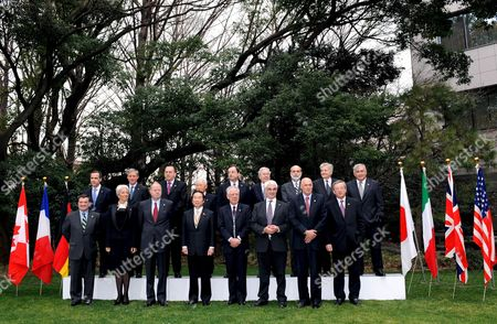 Group of Seven Finance Ministers and Central Bank Governors Line Up For a Photo Prior to Start of the G7 Meeting in Tokyo Japan On 09 February 2008 the Members Are (front Row L to R) Canadian Finance Minister Jim Flaherty French Finance Minister Christine Lagarde German Finance Minister Peer Steinbrueck Japan's Finance Minister Fukushiro Nukaga Italy's Finance Minister Tommaso Padoa-schioppa British Chancellor of the Exchequer Alistair Darling U S Treasury Secretary Henry Paulson and Jean-claude Juncker Luxembourg's Prime Minister and Chairman of the Eurogroup in the Back Row Are (from L-r): Bank of Canada Governor Mark Carney Bank of France Governor Christian Noyer German Bundesbank President Axel Weber Bank of Japan Governor Toshihiko Fukui Bank of Italy Governor Mario Draghi Bank of England Governor Mervyn King Federal Reserve Chairman Ben Bernanke European Central Bank President Jean-claude Trichet and Dominique Strauss-kahn Chairman of the International Monetary Fund