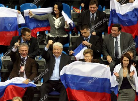 Former Russian President Boris Yeltsin (second L) His Wife Naina (second R) and Minister of Sports Viacheslav Fetisov (l) All in Lower Row Cheer During the Last Match of the Davis Cup Final in Moscow Sunday 03 December 2006