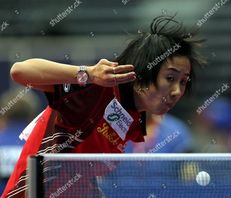 Stock Image of Liu Jia of Austria Serves to Carina Jonson of Sweden During European Table Tennis Championships Belgrade 2007 in Belgrade Serbia On Sunday 25 March 2007