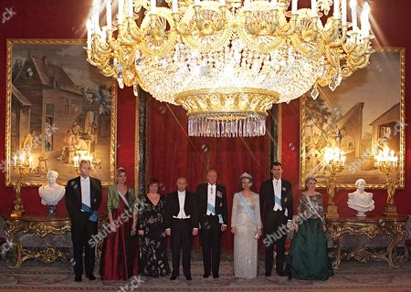 Russian President Vladimir Putin(c) His Wife Lyudmila (3d-l) Spain's King Juan Carlos (4th-r) Queen Sofia (3rd-r) Crown Prince Felipe (2nd-r) and Princess Letizia (r) Inaki Urdangarin (l) and His Wife Infanta Cristina Federica De Borbon Y Grecia (2nd-l) Poses For Photographer Behind Official Reception of Spain King in Palasio De-oriente King's Residence in Madrid Wednesday 08february 2006 Vladimir Putin Arrived in Spain On a State Visits by Formal Invitation of King Juan Carlos i