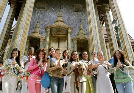 Miss Universe 2005 Contestants (front Row L-r) Monica Spear of Venezeula Dilek Aksoy of Turkey Elena Ralph of Israel Rozanne Diasz of Sri Lanka Denia Nixon of Bahamas Brooke Johnson of United Kingdom and Nadine Njeim of Lebanon (back Row L-r) Andrea Elrington of Belize Mary Gormley of Ireland Cindy Fabre of France and Cynthia Olavarria of Puerto Rico Greet in Thai Tradition Style at the Temple of the Emerald Buddha Eastern Section of the Royal Palace Bangkok Thailand Wednesday 11 May 2005 82 Beauty Queens Come to Compete For the Most Coveted Beauty Title of the World in Thailand On Tuesday 31 May