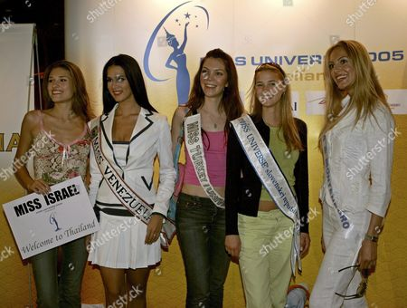 Miss Universe 2005 Contestants (l-r) Elena Ralph of Israel Monica Spear of Venezeula Dilek Aksoy of Turkey Michaela Drenckova of Slovak Republic and Jelena Mandic of Serbia and Montenegro Pose For a Photograph During Their Arrival at the Hotel in Bangkok Thailand On Monday 09 May 2005 Thailand Will Host the Miss Universe 2005 Beauty Pageant This Year and the Winner Will Be Selected On Tuesday 31 May