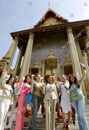 Miss Universe 2005 Contestants (front Row L-r) Monica Spear of Venezeula Dilek Aksoy of Turkey Elena Ralph of Israel Rozanne Diasz of Sri Lanka Denia Nixon of Bahamas Brooke Johnson of United Kingdom and Nadine Njeim of Lebanon (back Row L-r) Andrea Elrington of Belize Mary Gormley of Ireland Cindy Fabre of France Rachel Marete of Kenya and Cynthia Olavarria of Puerto Rico Wave During a Group Photo Session at the Temple of the Emerald Buddha Eastern Section of the Royal Palace Bangkok Thailand Wednesday 11 May 2005 82 Beauty Queens Come to Compete For the Most Coveted Beauty Title of the World in Thailand On Tuesday 31 May