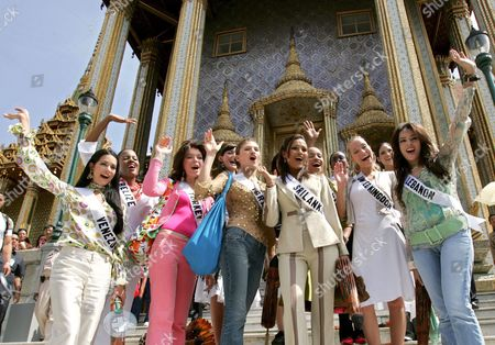 Miss Universe 2005 Contestants (front Row L-r) Monica Spear of Venezeula Dilek Aksoy of Turkey Elena Ralph of Israel Rozanne Diasz of Sri Lanka Denia Nixon of Bahamas Brooke Johnson of United Kingdom and Nadine Njeim of Lebanon (back Row L-r) Andrea Elrington of Belize Mary Gormley of Ireland Cindy Fabre of France Rachel Marete of Kenya and Cynthia Olavarria of Puerto Rico Wave During a Group Photo Session at the Temple of the Emerald Buddha Eastern Section of the Royal Palace Bangkok Thailand Wednesday 11 May 2005 82 Beauty Queens Come to Compete For the Most Coveted Beauty Title of the World in Thailand On Tuesday 31 May 2005