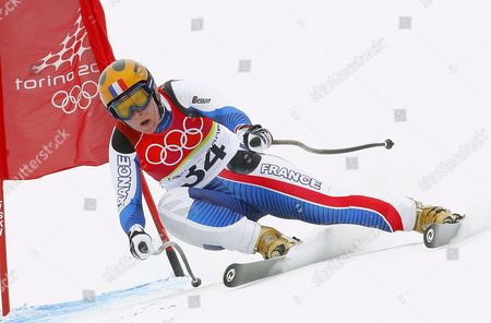 Stock Picture of The 2002 Olympic Champion Carole Montillet-carles of France in Action During the Women's Downhill Race in San Sicario Fraiteve at the Turin 2006 Winter Olymipc Games Wednesday 15 February 2006