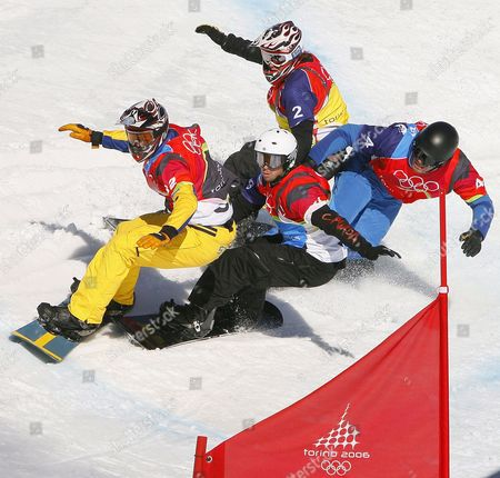 Swede Jonatan Johansson (front Left) Canada's Francois Boivin (front Right) Swiss Huser Marco (rear Left) and Italy's Tommaso Tagliaferri in Action During the Final of the Men's Snowboard Cross Fina in Bardonecchia at the Turin 2006 Winter Olymipc Games Thursday 16 February 2006