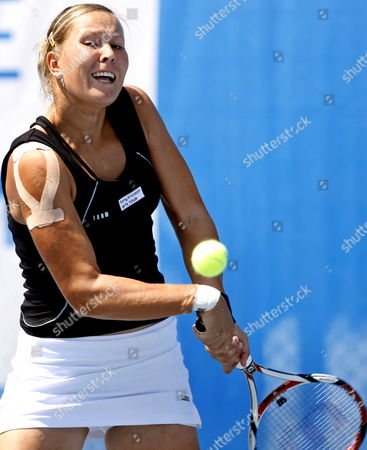 Lucie Hradecka of Czech Republic Returns to Marta Domachowska of Poland During Their Quarter Final Tennis Match at Istanbul Cup 2009 Wta Tournament at Enka Arena in Istanbul Turkey 31 July 2009