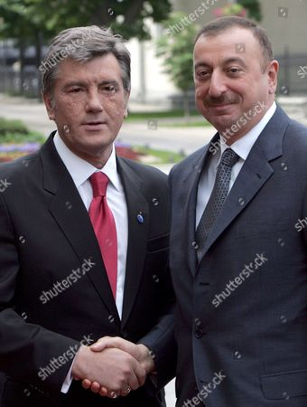 Ukrainian President Viktor Yushchenko (l) Welcomes His Azerbaijan Counterpart Ilkham Aliev During Their Meeting Before Energy Security Summit Opening Ceremony in Kiev Ukraine 23 May 2008 President of Azerbaijan Ilham Aliyev President of Georgia Mikheil Saakashvili President of Lithuania Valdas Adamkus President of Poland Lech Kaczynski President of Estonia Hendrik Ilves and President of Latvia Valdis Zatlers Take Part in the Summit Victor Yushchenko Proposed Four Topics For Discussion: About Implementation of Agreements Reached at Previous Summits in Particular Concerning the Project of the Eurasian Oil-transport Corridor On the Basis of Odessa-brody Oil Pipeline; About a National Strategy and Projects in the Sphere of Energy Security; About Creating a Black-sea-caspian Energy Space and About the Eu Energy Security Policy As Unian Agency Said