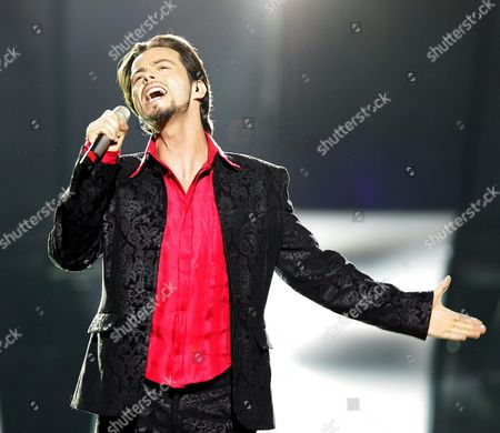 Stock Picture of Nuno Resende From Belgium Performs the Song 'Le Grand Soir' During Dress Rehearsals For the Eurovision Song Contest in Kiev On Thursday 19 May 2005