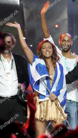 Helena Paparizou From Greece Celebrates As Winner of Eurovision Song During the Awarding Ceremony in Kiev Saturday 21 May 2005 Paparizou Won with the Song 'My Number One'