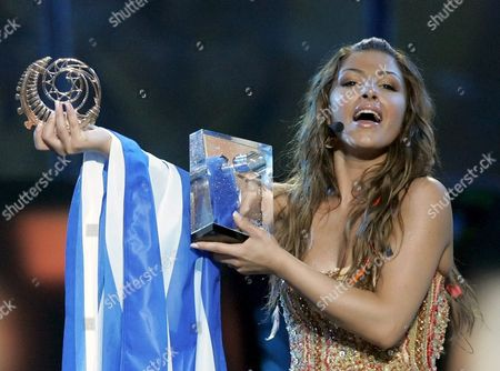 Helena Paparizou From Greece Shows Her Trophies As Winner of Eurovision Song Contest in Kiev Saturday 21 May 2005 Paparizou Won with the Song 'My Number One'