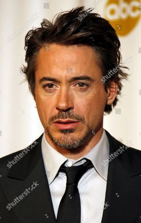 Stock Photo of Us Actor Robert Downey Jr Poses After Presenting John Knoll Hal Hickel Charles Gibson and Allen Hall Their Oscars For Achievement in Visual Effects For 'Pirates of the Caribben: Dead Man's Chest' at the 79th Annual Academy Awards at the Kodak Theatre in Hollywood California Sunday 25 February 2007