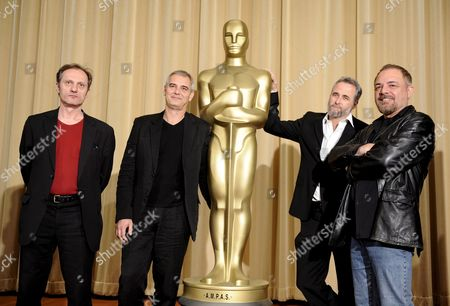 Austrian Director Gotz Spielmann (l) French Director Laurent Cantet (2-l) Israeli Director/writer Ari Folman (2-r) and German Director Uli Edel (r) Attend the Academy Awards Foreign Film Directors Photo Opportunity in Beverly Hills Los Angeles California Usa 20 February 2009 the Five Films Vying For the 2008 Foreign Language Film Award Are 'Revanche' From Austria 'The Class' From France 'The Baader Meinhof Complex' From Germany 'Departures' From Japan and 'Waltz with Bashir' From Israel the Winner Will Be Announced at the 81st Academy Awards On 22 February 2009 at the Kodak Theater in Hollywood